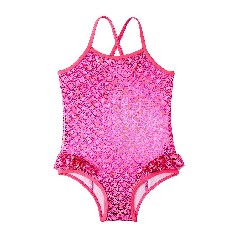 Pink Platinum Girls Little Baby Unicorn Rainbow Print Swimsuit