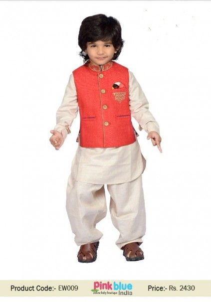 90f6df27bb78 Cute Off White Kurta Pajama with Red Party Wear Jacket for Baby Boy ...