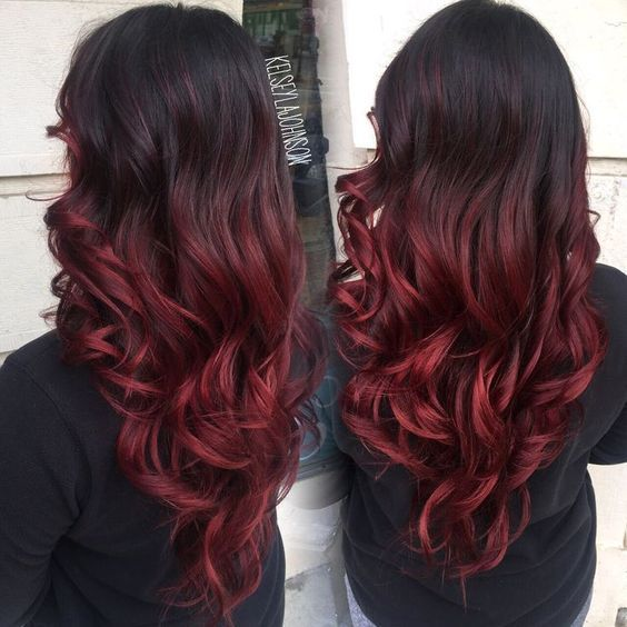 Darker Than The Classic Red Dark Red Hair Is Basically A Gentler Version Of The Auburn Or Red Wine Tone It Sport Red Balayage Hair Red Ombre Hair Hair Styles