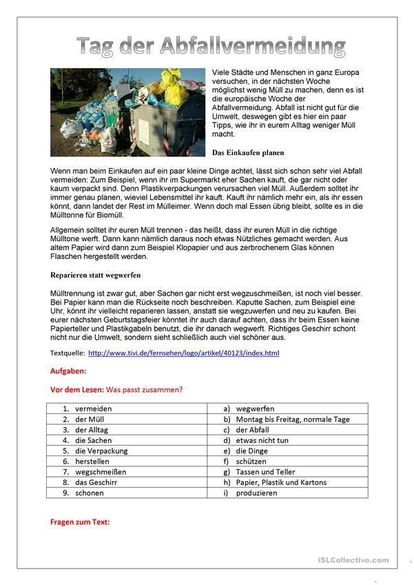 Tag der Müllvermeidung | Deustch | Pinterest