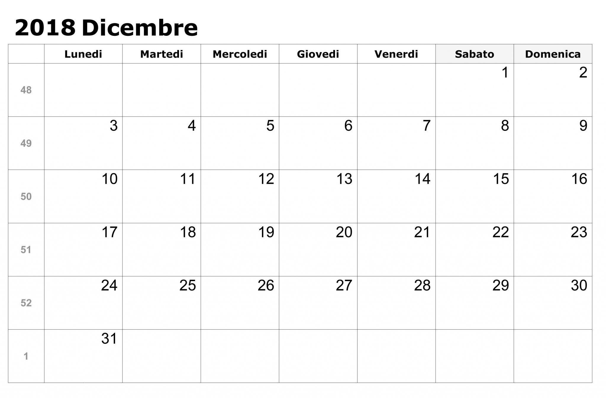 Calendario Dicembre 2019 Excel.2018 Calendario Dicembre Da Stampare Excel Calendario