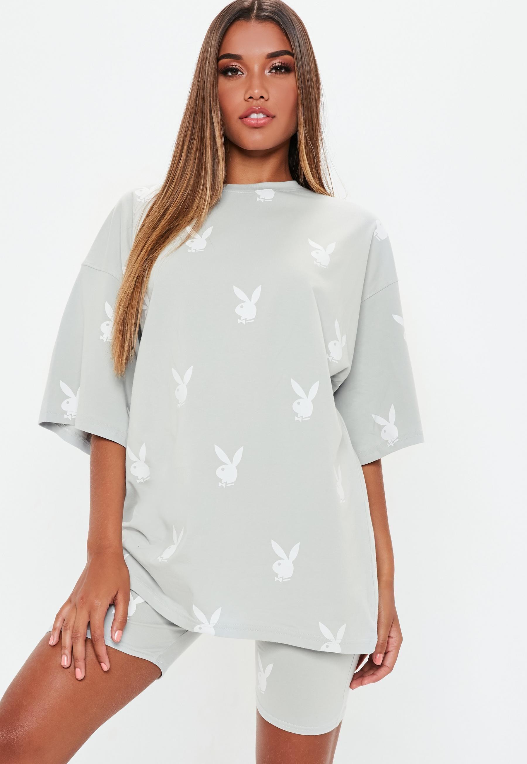 8f431fda74ead Playboy x Missguided Grey Repeat Print Oversized T-Shirt