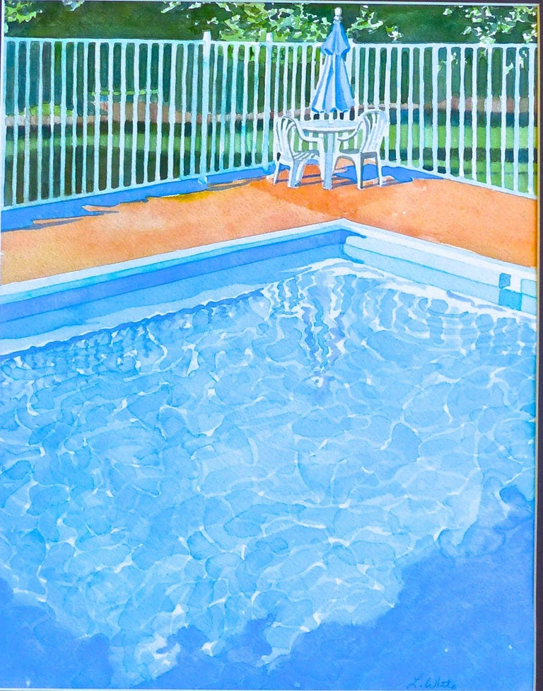 Leslie White Drawing Watercolor Painting Pool Umbrella