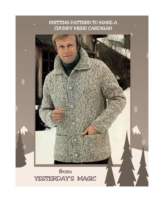 Instant Download PDF : Vintage 1970's #Knitting #Pattern to make a Mens Chunky Cardigan Jacket