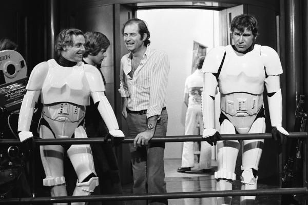 Star Wars #vintage: Mark Hamill and Harrison Ford on the Death Star set in Stormtrooper outfits.