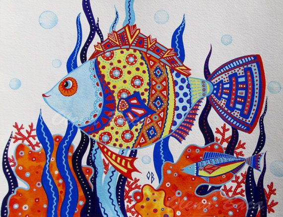 Acquerelli Bambini ~ Camera dei bambini nautico arte parete pesce gouache acquerello