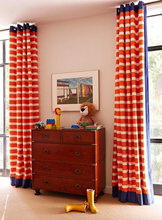 Orange Curtains Traditional Boy S Room Anne Hepfer Designs Boys Room Curtains Orange Curtains Striped Curtains