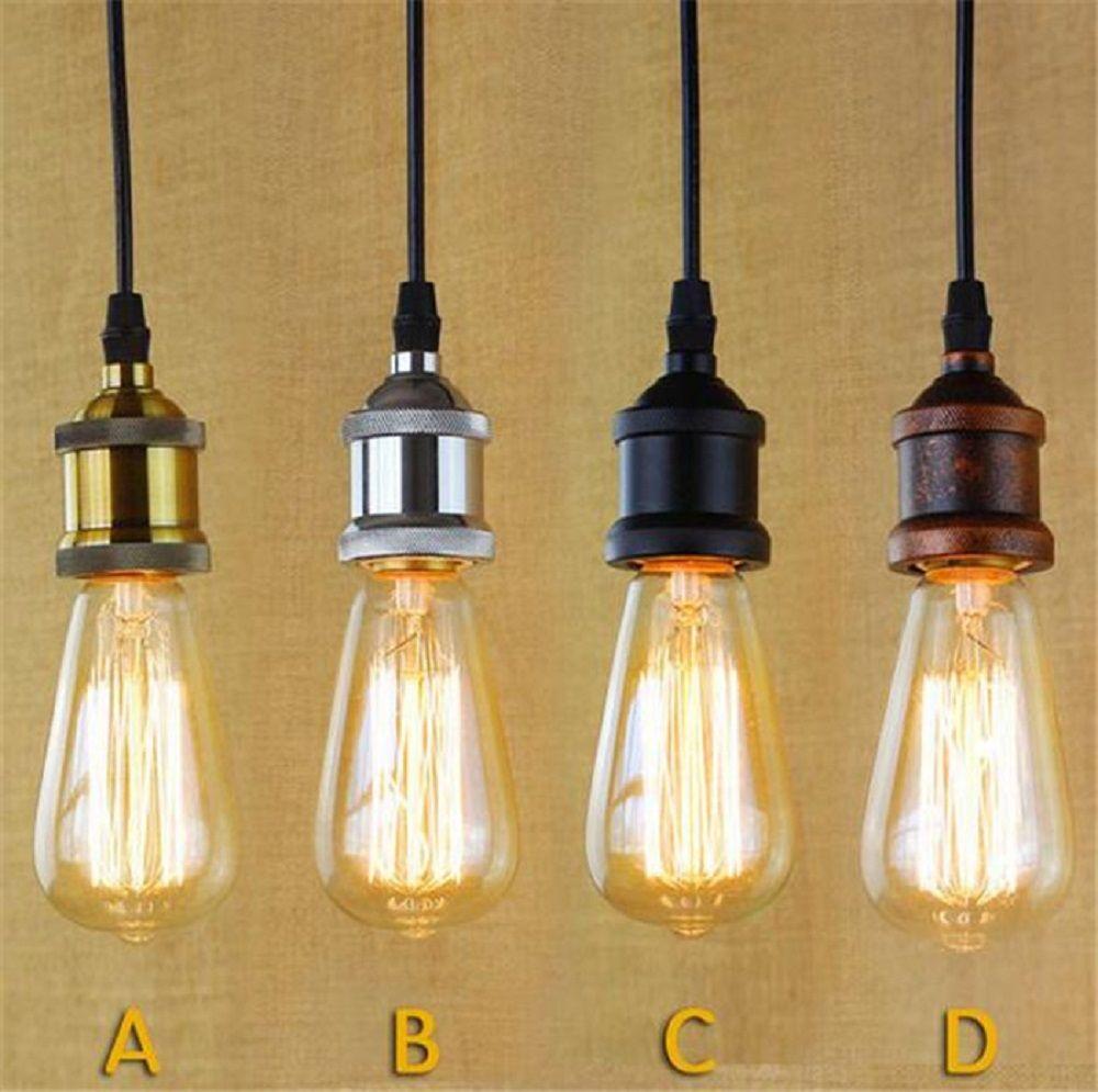 Loft Hanging Lamp Socket Vintage Edison Pendant Lights Retro Black