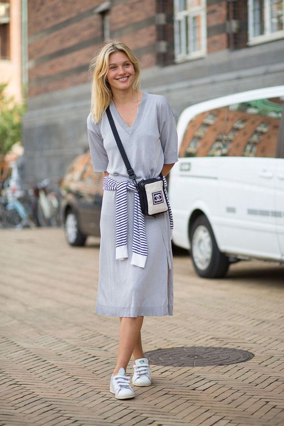 60+ Dress and Sneakers Outfit Street Style Ideas 58