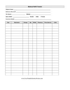 Medical Refill Tracker Printable Medical Form Free To Download