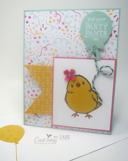 card and envelope using Stampin' Up! Honeycomb Happiness and Party Pants