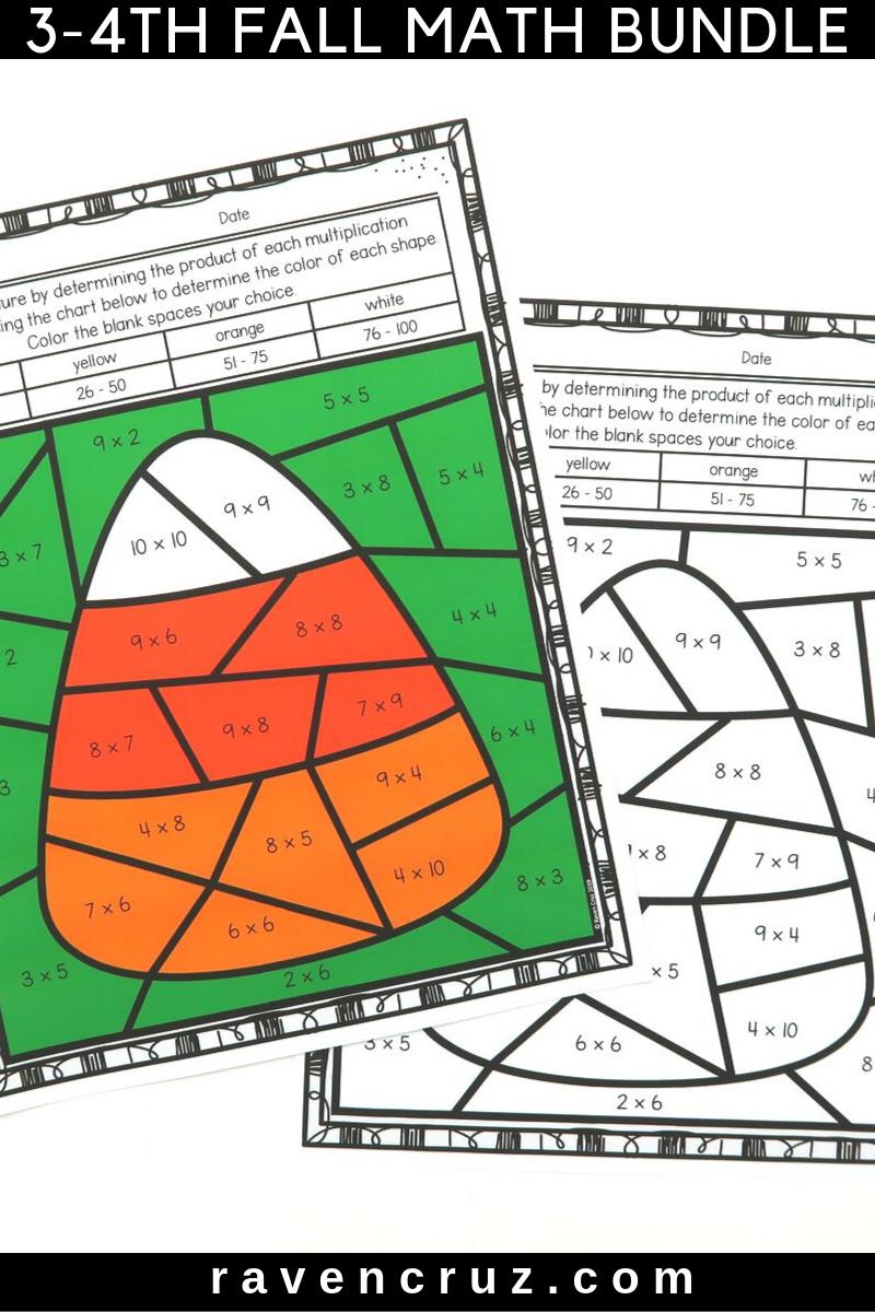 Fall Math Multiplication and Division Bundle | Fun math ...