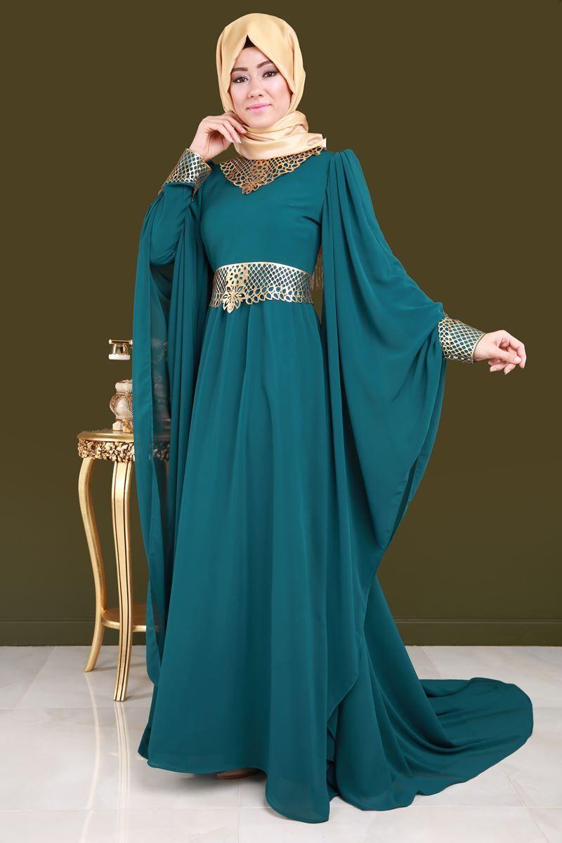 Size Ozel Tasarimlar Pelerin Kollu Sifon Abiye Petrol Urun Kodu Asm2035 169 90 Tl The Dress Moda Stilleri Abaya Tarzi