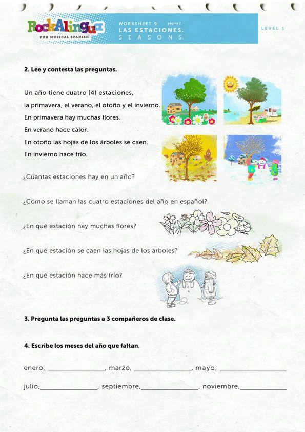 Seasons   Worksheet   Rockalingua   Seasons worksheets ...
