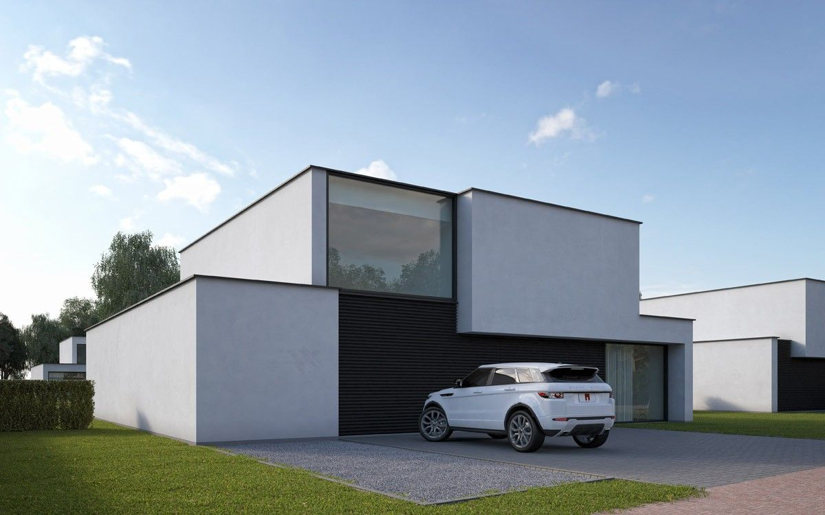 Groepswoningbouw bouwen van 6 alleenstaande luxe eengezinswoningen · efh modernmodern