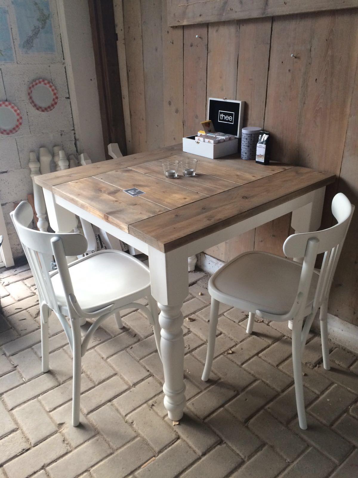 Vierkante tafel voor thuis of horeca landelijke bolpoot for Horeca tafels