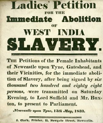 Poster promoting petition against slavery in West India by women - community petition