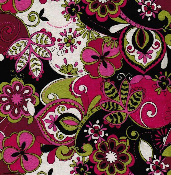 Keepsake Calico Fabric-Jacqueline Floral Pink Grn Blk at