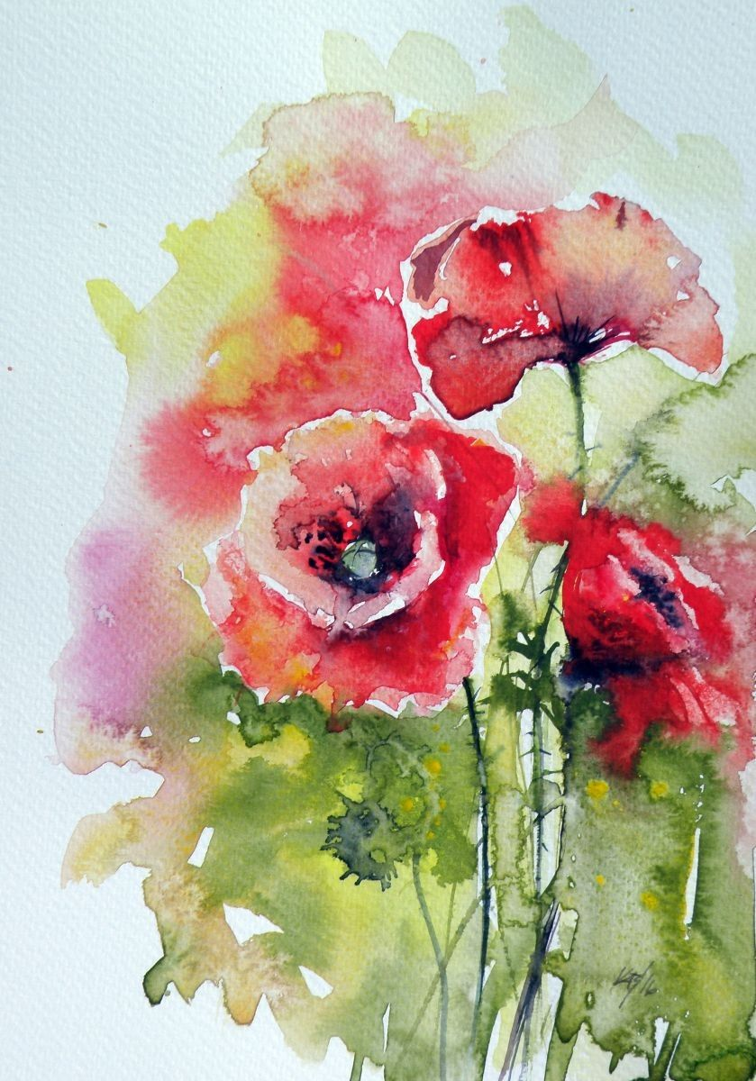 Poppies Of Summer In 2020 Floral Watercolor Watercolor