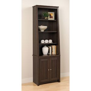 Superb Prepac 6 Shelf Slant Back Bookcase With Doors, Espresso