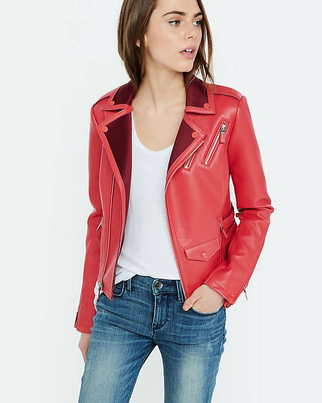 Red Color Block Minus The Leather Jacket From Express Lady