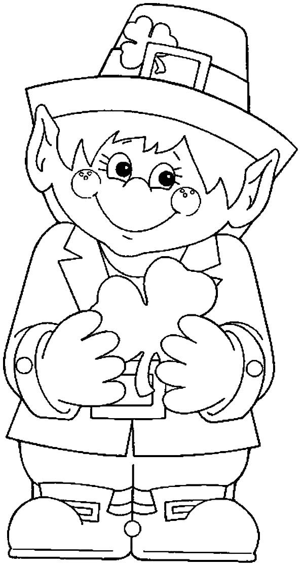 Gallery Cute Leprechaun Holding A Shamrock On His Hand Coloring Page is free HD wallpaper.