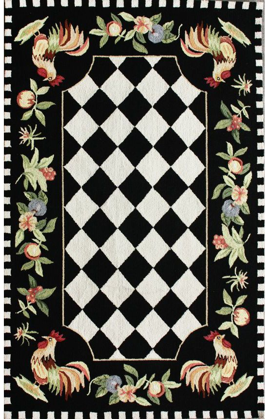 Serendipity Rooster Black Rug Country Floral Rugs Rooster