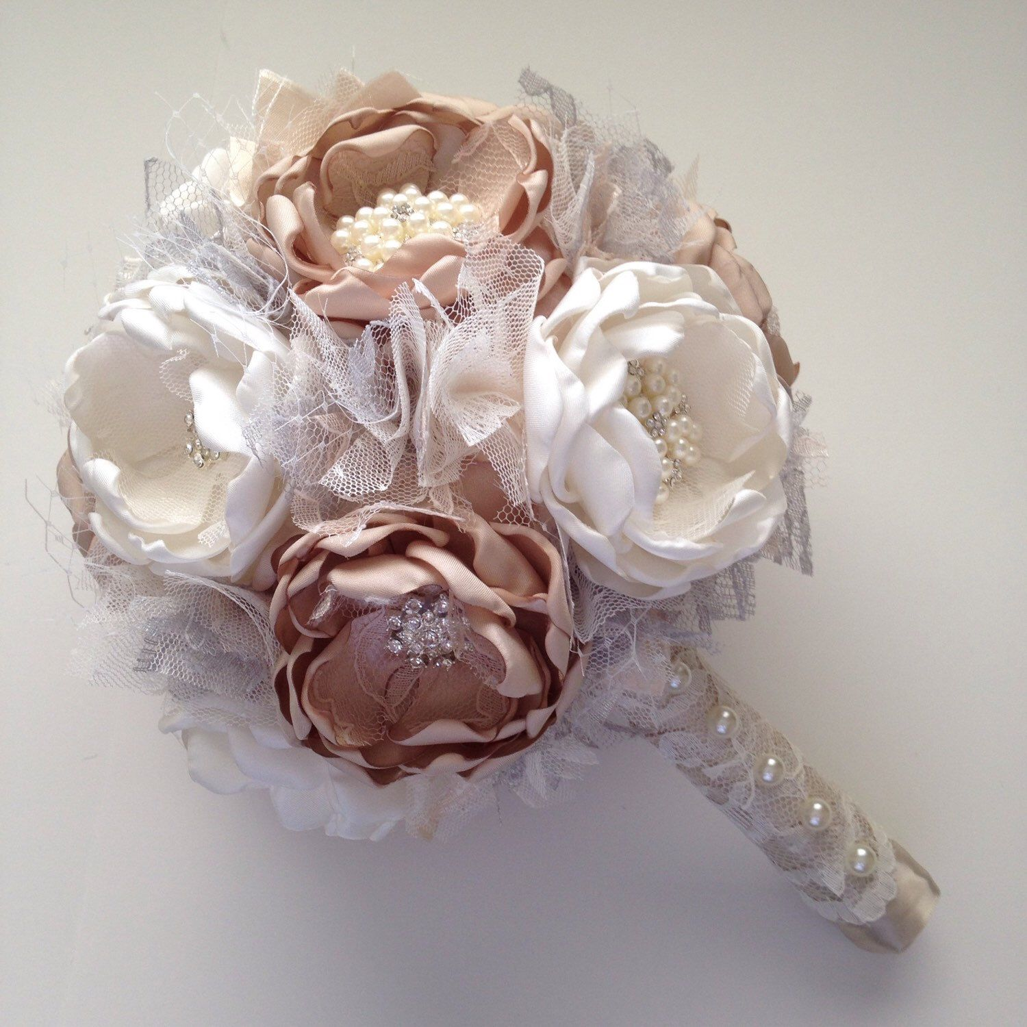 Champagne And Cream With A Touch Of Silver Large Bridal Bouquet