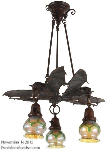 3 Light Austrian Bronze Hanging Bat Lamp Lighting