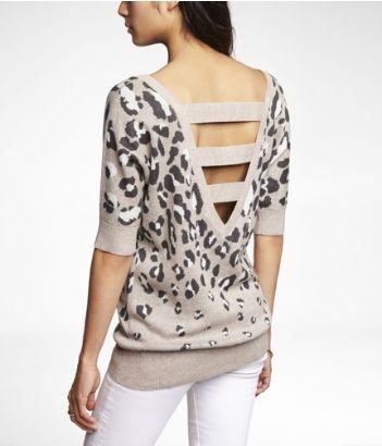 Express Leopard Face Jacquard V-Back Tunic Sweater