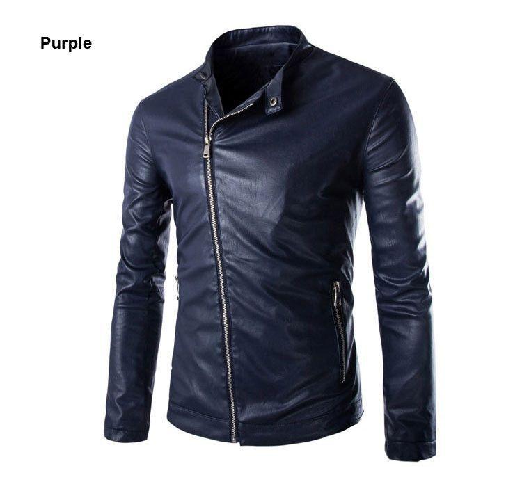 European Style Fashion Design 2015 Oblique Washed Men Leather Jacket Zipper Decoration Solid Long-Sleeved Men Jacket Coat 3Color