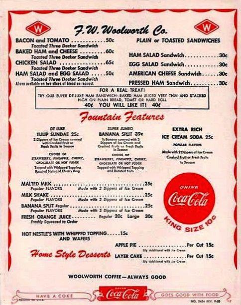 1957 Woolworth S Lunch Counter Menu Vintage Menu Memories