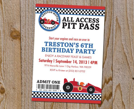 Hey i found this really awesome etsy listing at httpsetsy race car ticket birthday party invitation all access pit pass filmwisefo Choice Image