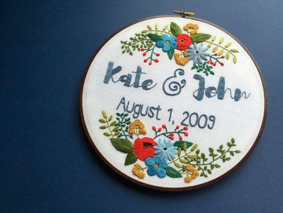 Custom Embroidery Hoop Art Embroidery Hoop Embroidery Wedding Gift 1