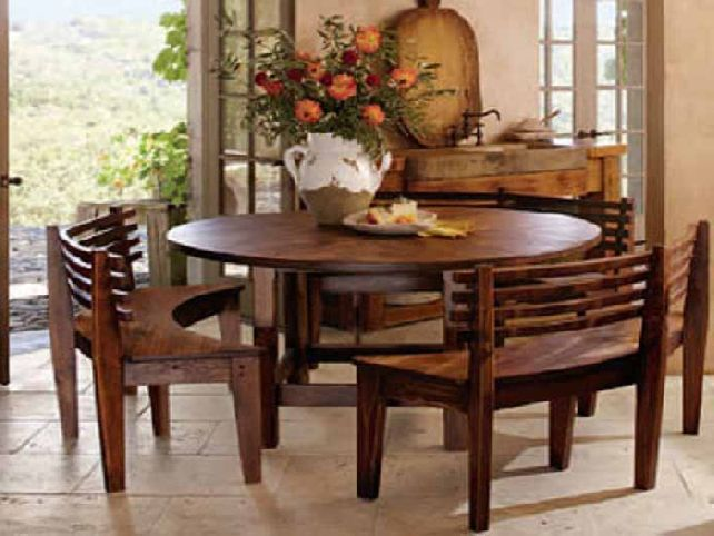 Dining Sets With Benches Wooden Round Table Curves Unique Ewer Orange Roses Classic Look