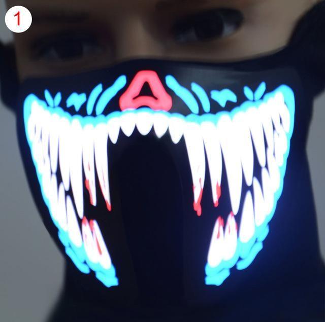 Led Face Mask Led Light Up Flashing Halloween Party Costume Dance Cosplay Decor