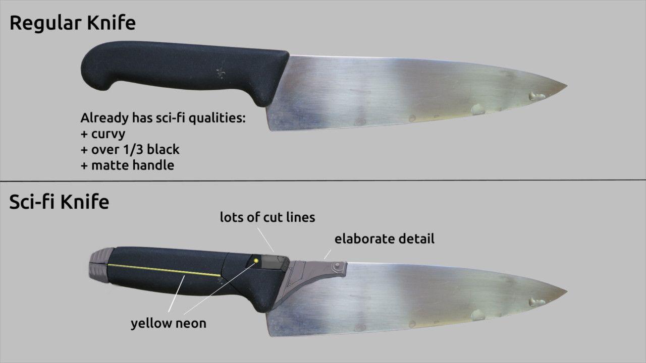 Regular Kitchen Knife Redesigned In Scifi Form  Tutorials Mesmerizing Kitchen Knife Design Design Ideas
