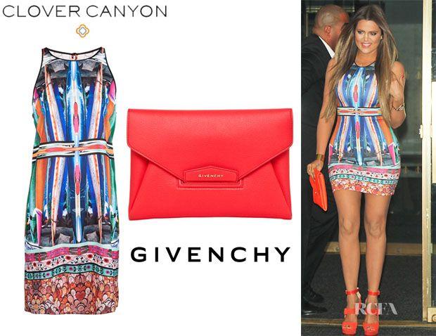 743ec67b2e39 Khloe Kardashian s Clover Canyon Long Board Neoprene Print Dress   Givenchy  Antigona Envelope Clutch