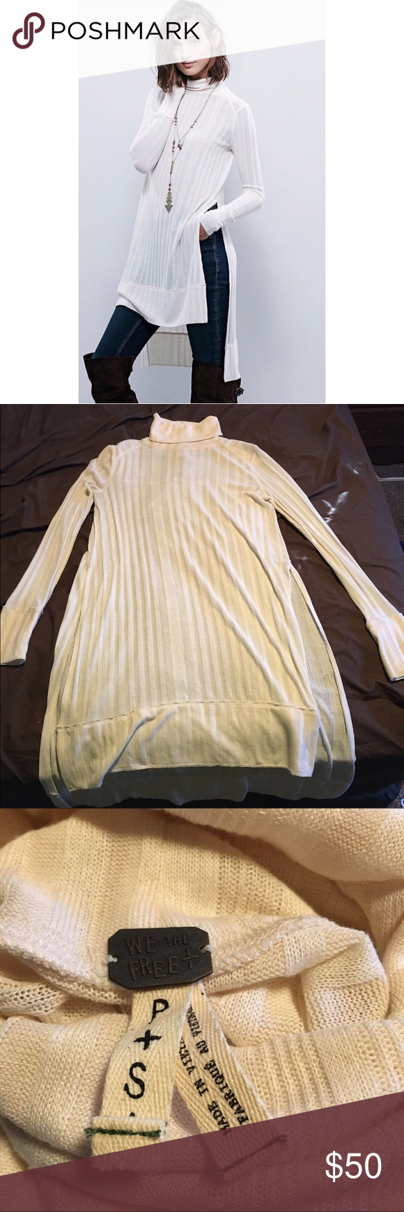We the Free Espresso Top in Ivory A fun, lengthy tunic top featuring a turtle neck, long slits, and a ribbed texture. EUC, perfect to layer for fall and winter! Free People Tops Tunics