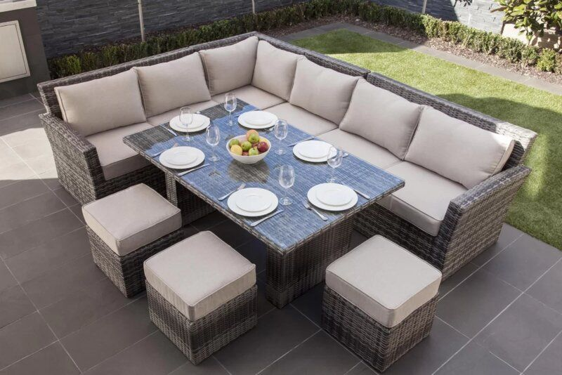 Dengler Wicker Rattan 9 Person, Outdoor Sectional Couch With Dining Table