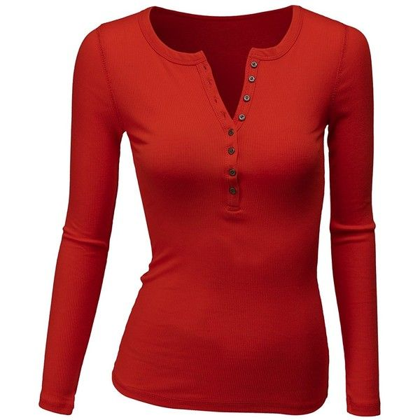 69ac05922d64 Amazon.com: Doublju Womens Long Sleeve Thermal Cotton Henley T-Shirt:...  ($13) ❤ liked on Polyvore featuring tops, t-shirts, red top, long sleeve  tops, ...