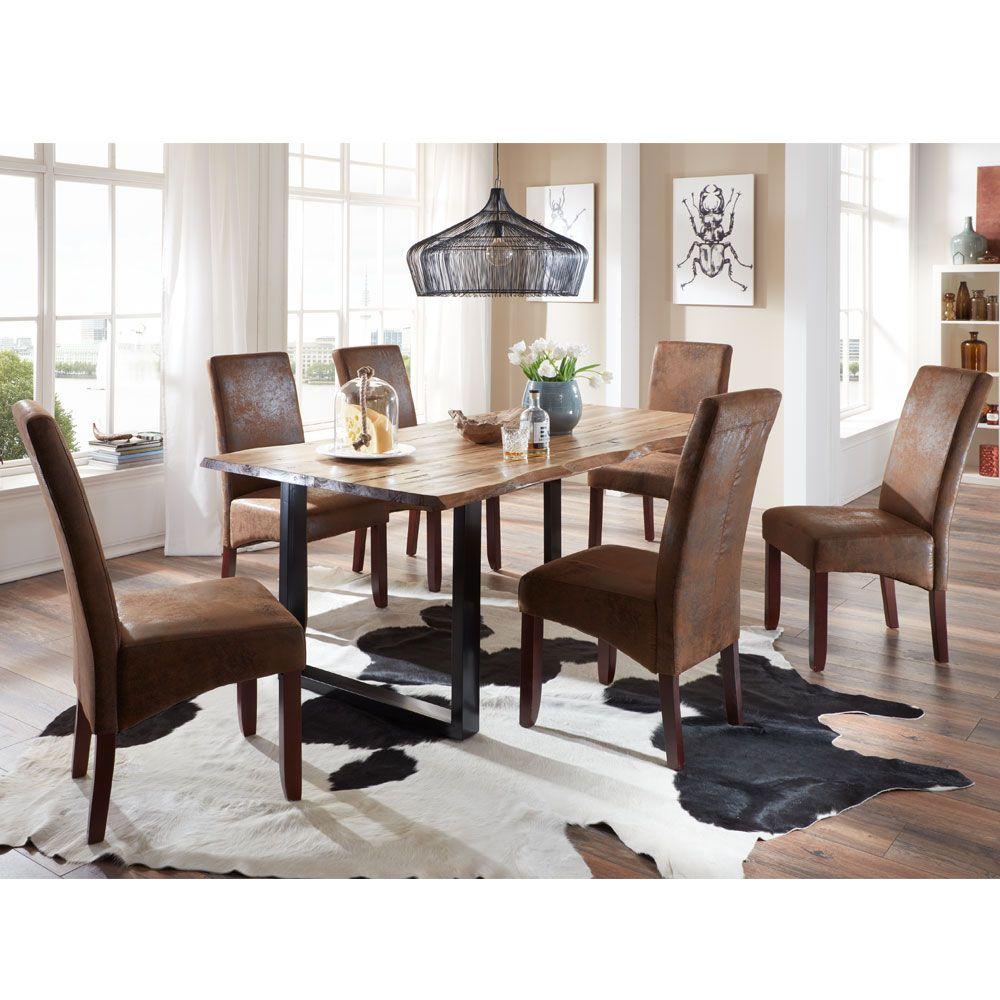 Esstisch mit Stühlen mit Baumkante Braun Stoff (7-teilig) Jetzt ...