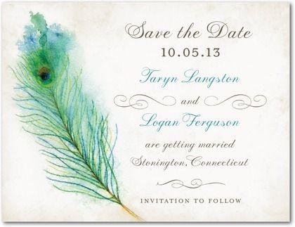 Wedding Paper Divas - Save the Date Postcards Peacock Plume - Front : Khaki