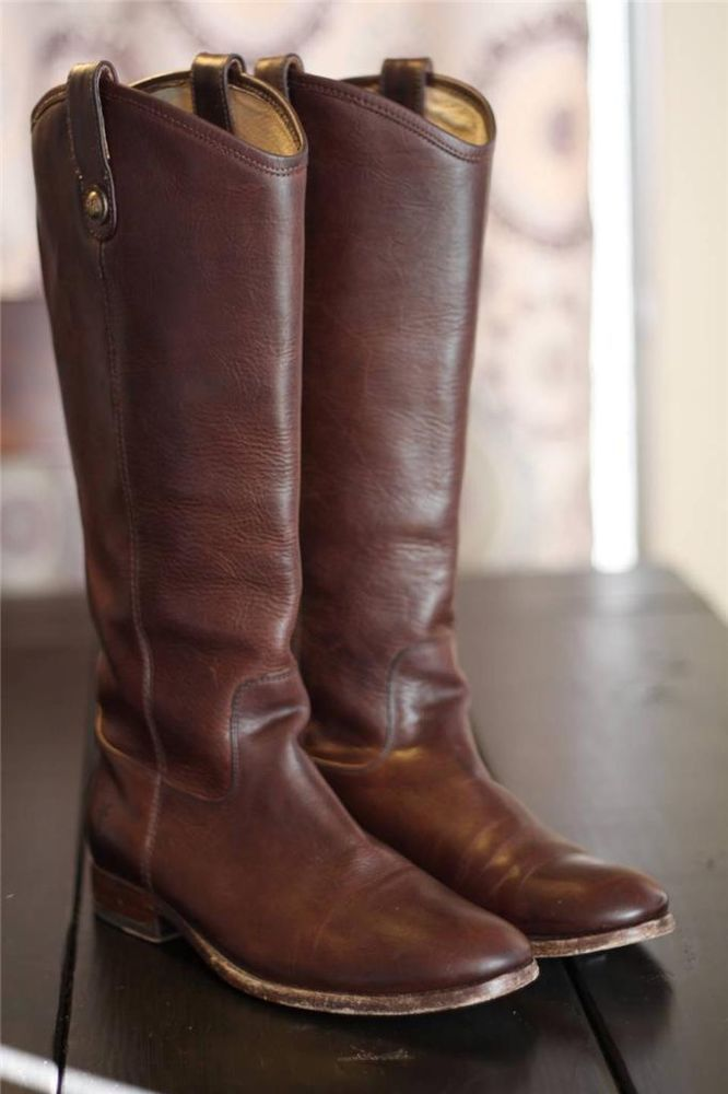 Frye Melissa Button Tall Riding Boots 77167 Dark Brown Leather Equestrian 9  #Frye #RidingEquestrian