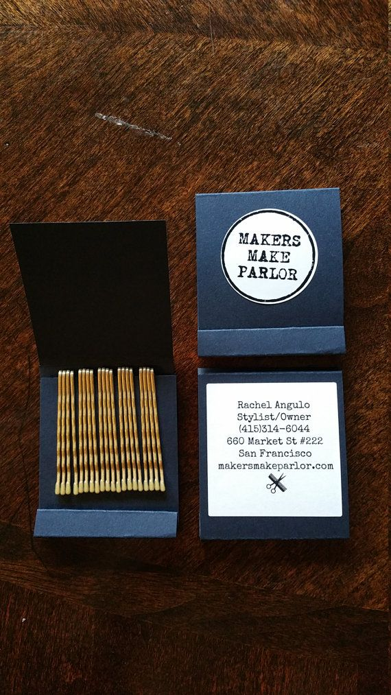 Matchbook of Bobby pins by MakersMakeParlor on Etsy #branding ...