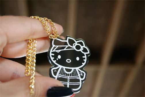 Custom Gangster Hello Kitty Necklace laser cut by emikoshop, $10.00