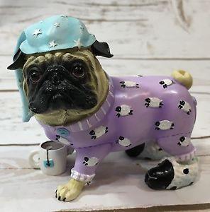 Pugnacious Pajama Pug Resin Dog Figurine Purple Sheep Pajamas