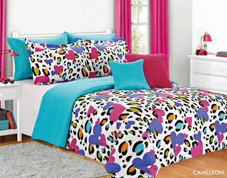 Bright Color Cameleon Comforter Set Multi Color Heart