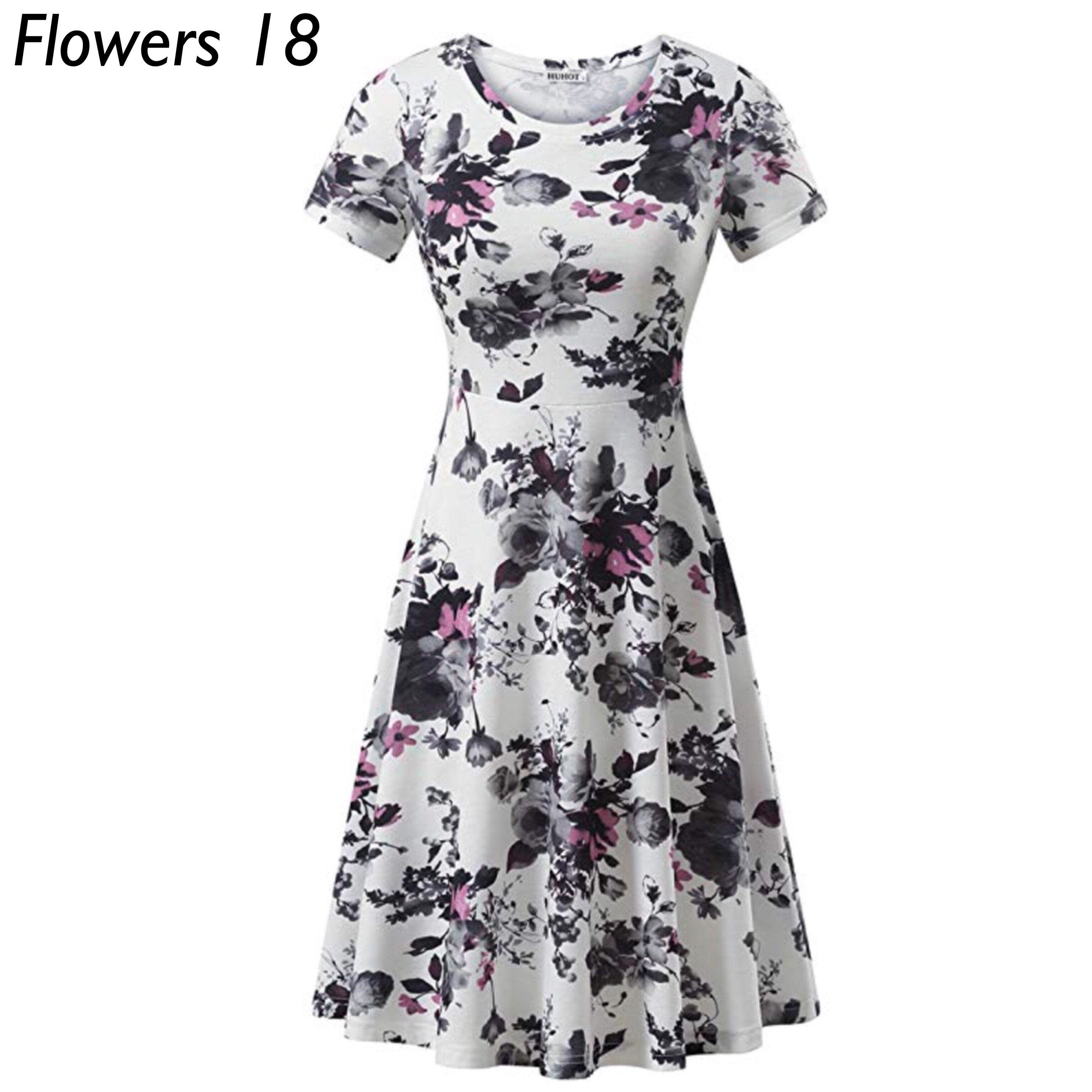 Casual Flared Midi Dress Sizes Xsmall 2xlarge Design Flowers 18 In 2021 Dresses Short Fall Dresses Summer Dresses Knee Length [ 3072 x 3072 Pixel ]