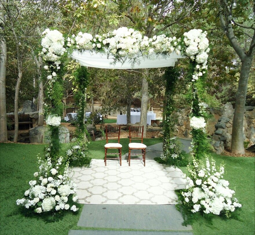 Gorgeous chuppah wedding arch adorned with all white flowers gorgeous chuppah wedding arch adorned with all white flowers white hydrangeas white roses mightylinksfo